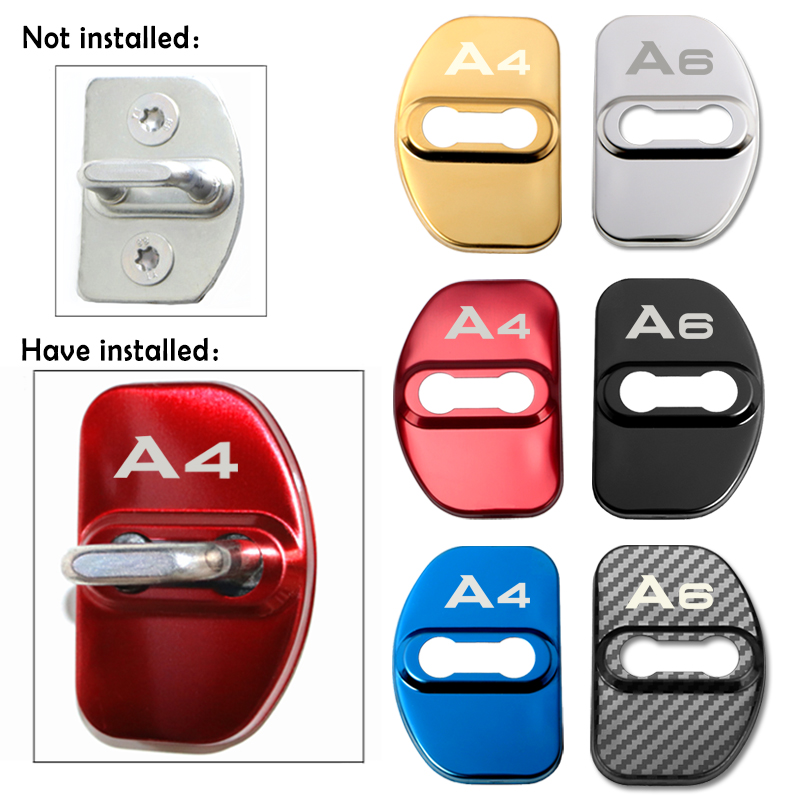 4pcs Auto Door Lock Car Sticker Cover Protect Buckle Cover Latch For Audi A1 A3 A4 A5 A6 A7 A8 Q3 Q5 Q7 S8 TT
