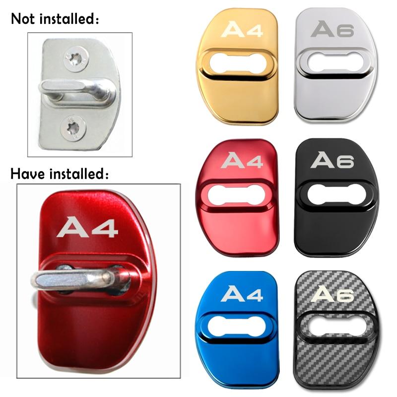 4pcs Auto Door Lock Car Sticker Cover Protect Buckle Cover Latch For Audi A1 A3 A4 A5 A6 A7 A8 Q3 Q5 Q7 S8 TT