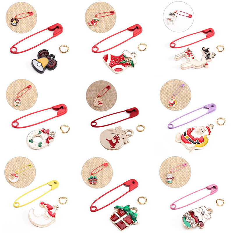 SAUVOO DIY Christmas Kids Safety Pins Brooches Making Kits Santa Claus Deer Bell Charms Women Party Brooch Jewelry Material Sets