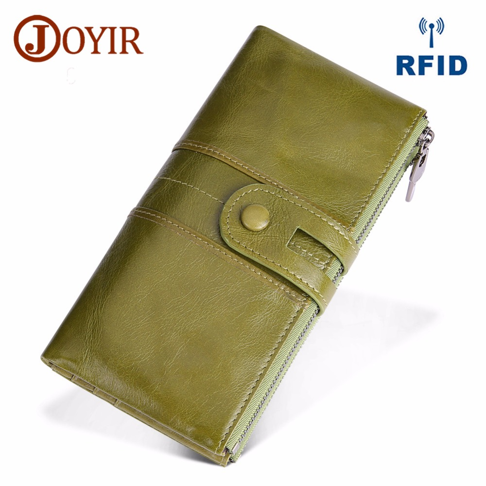 JOYIR Design Unisex Women Clutch Wallets Genuine Leather Male Women's Long Wallet Zipper Purse Coin Purse Money Phone Bag RFID