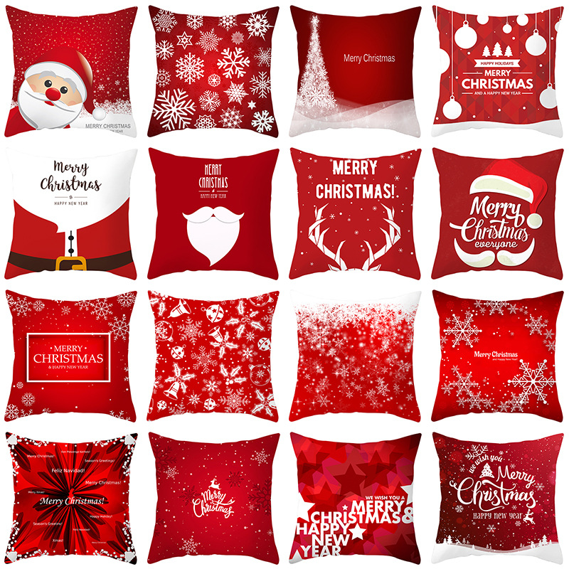 2019 New Merry Christmas Santa Claus Pillow Cover Christmas  Home Decorative Pillowcase Plush Throw Pillow Case Cover