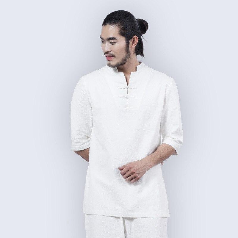 Men Yoga Set Cotton Linen Long Sleeve Shirts Pants Trousers Suit Male Tai Chi Martial Arts Clothing