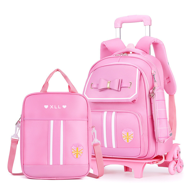 3Pcs/set Student School Bag Rolling Backpack Kids Trolley Bag For Girl School Backpack Wheeled Bag Children Trolley Backpack