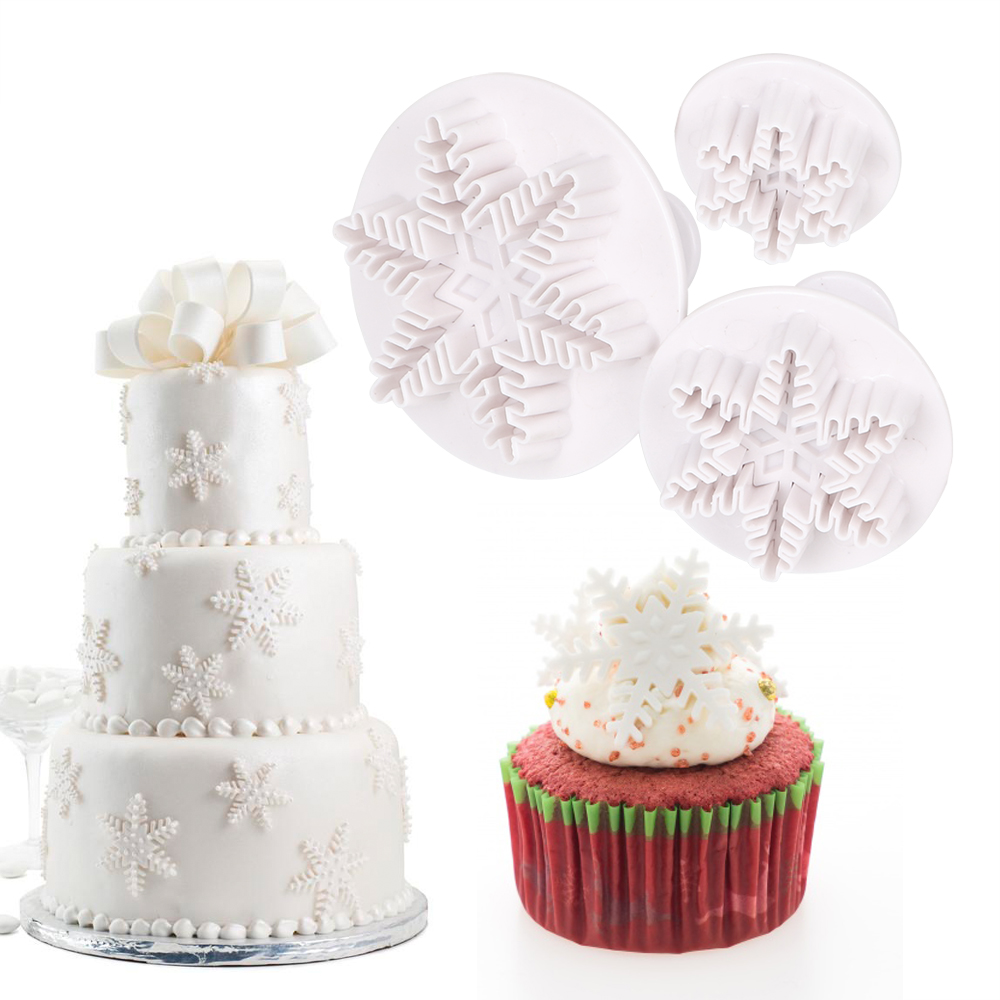 Cake DIY Decorating Tools 3pcs/set Snowflake Snow Shape Cake Mold Fondant Pastry Cutter Chocolate Cookie Candy Plunger Mold