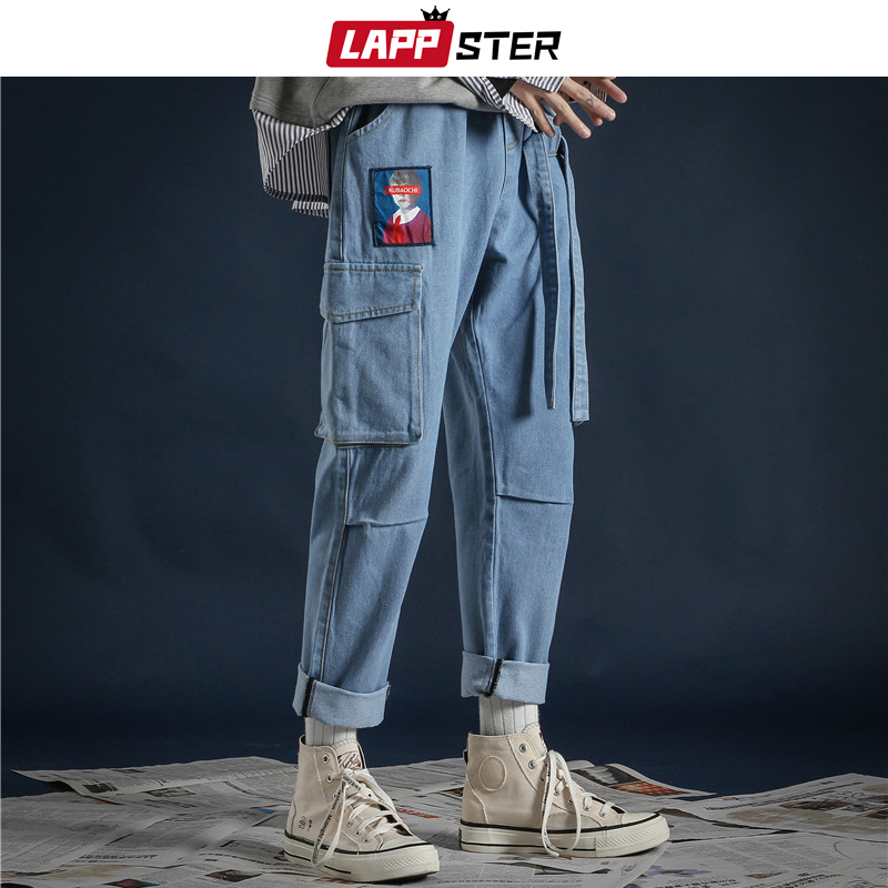 LAPPSTER Korean Fashoins Streetwear Jeans Pants 2019 Ribbons Harajuku Baggy Jeans High Quality Couple Pockets Denim Blue Pants