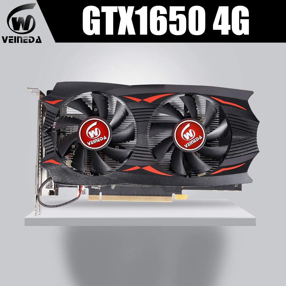 VEINEDA Graphic card gtx 1650 Transformers 4GB 8004MHz 1485MHz GDDR5 128bit PCI Express X16 HDMI DVI DP gtx1650 video card