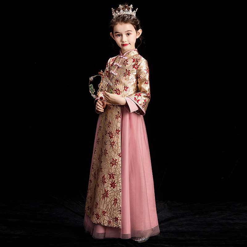 Chinese-style Children Improved Cheongsam Formal Dress 2019 New Style Girls Chinese Costume Princess Dress Antique Style Little