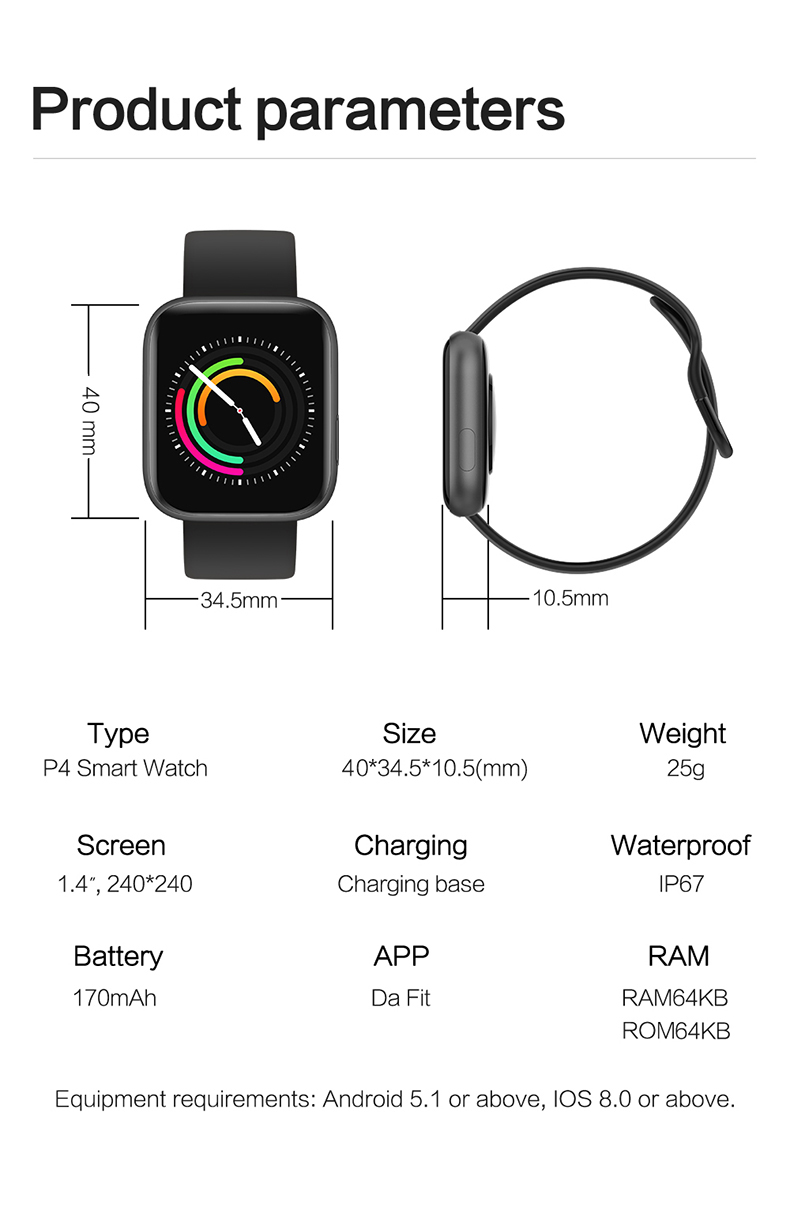Smart watch sports TKYUAN P4, water resistant, control, sleep, heart rate Product