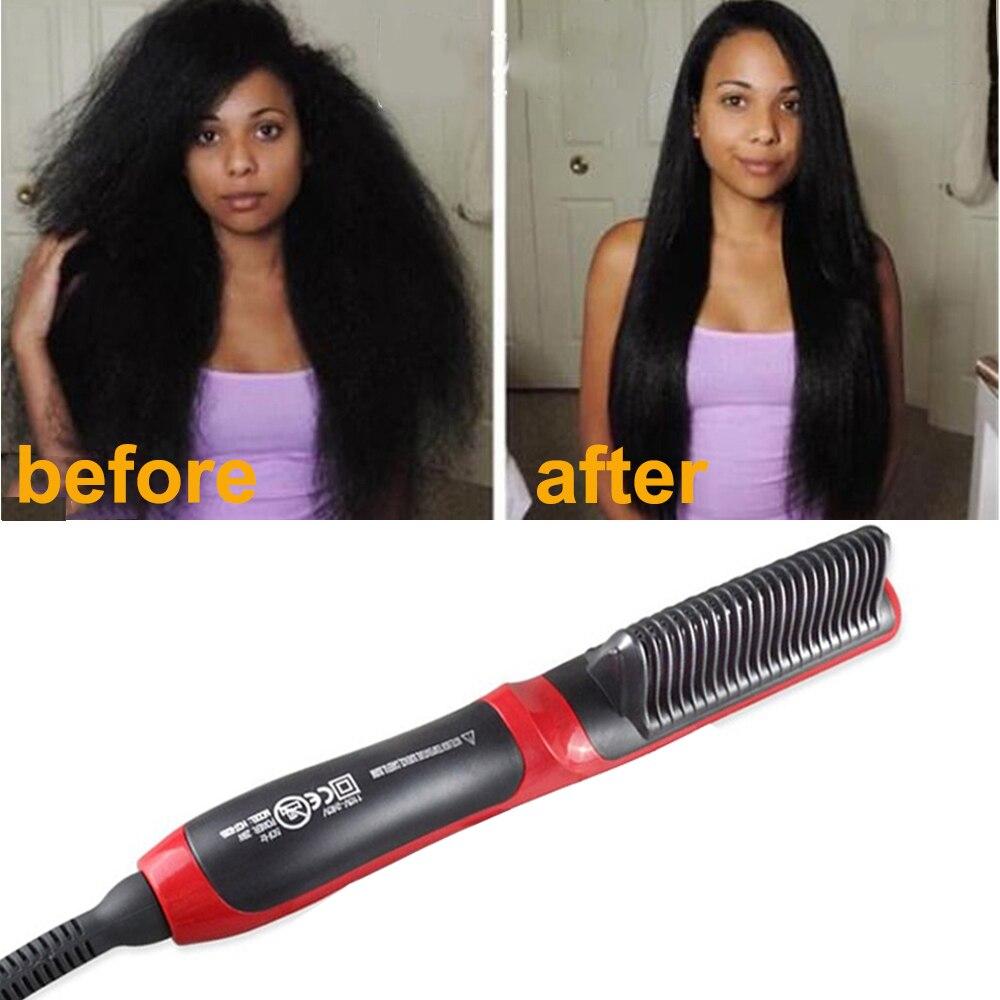Beard Straightener For Men Ceramic Ionic Hair Straightener Brush Professional Hair Straightening Comb Beard Brush Grooming Kit