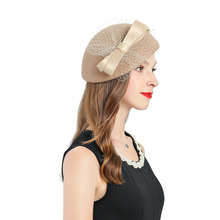 Fedoras Hats For Women Church Hats Winter Khaki Fascinator Wool Hats Female Bow-knot Decorate Cocktail Tea Party Hair Clip Hat