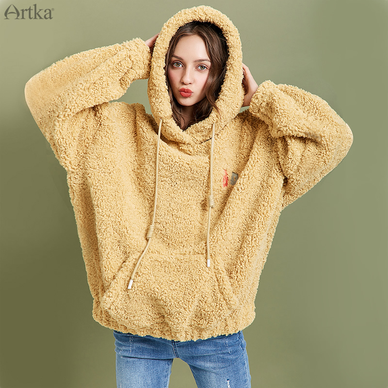 ARTKA 2019 Winter New Women Sweatshirt Thicken Teddy Plush Embroidery Hoodies Loose Casual Lantern Sleeve Sweatshirt VA10098D