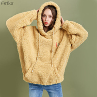 ARTKA 2019 Winter New Women Sweatshirt Thicken Teddy Plush Embroidery Hoodies Loose Casual Lantern Sleeve Sweatshirt VA10098D