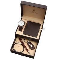 男性カスタムギフトセットボックスファッションビジネス腕時計革財布メンズブレスレットキーホルダーボールペンスーツのための男性父親