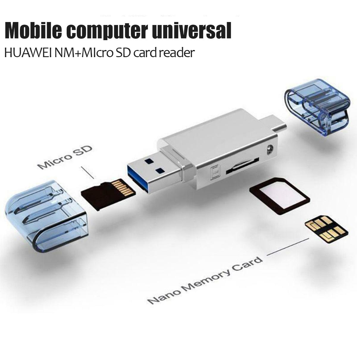 2 In 1 Type-C USB3.0 To Micro-SD/NM PC Use Card Reader For Huawei Mate20/P30 Pro High-speed Memory Aluminum Alloy