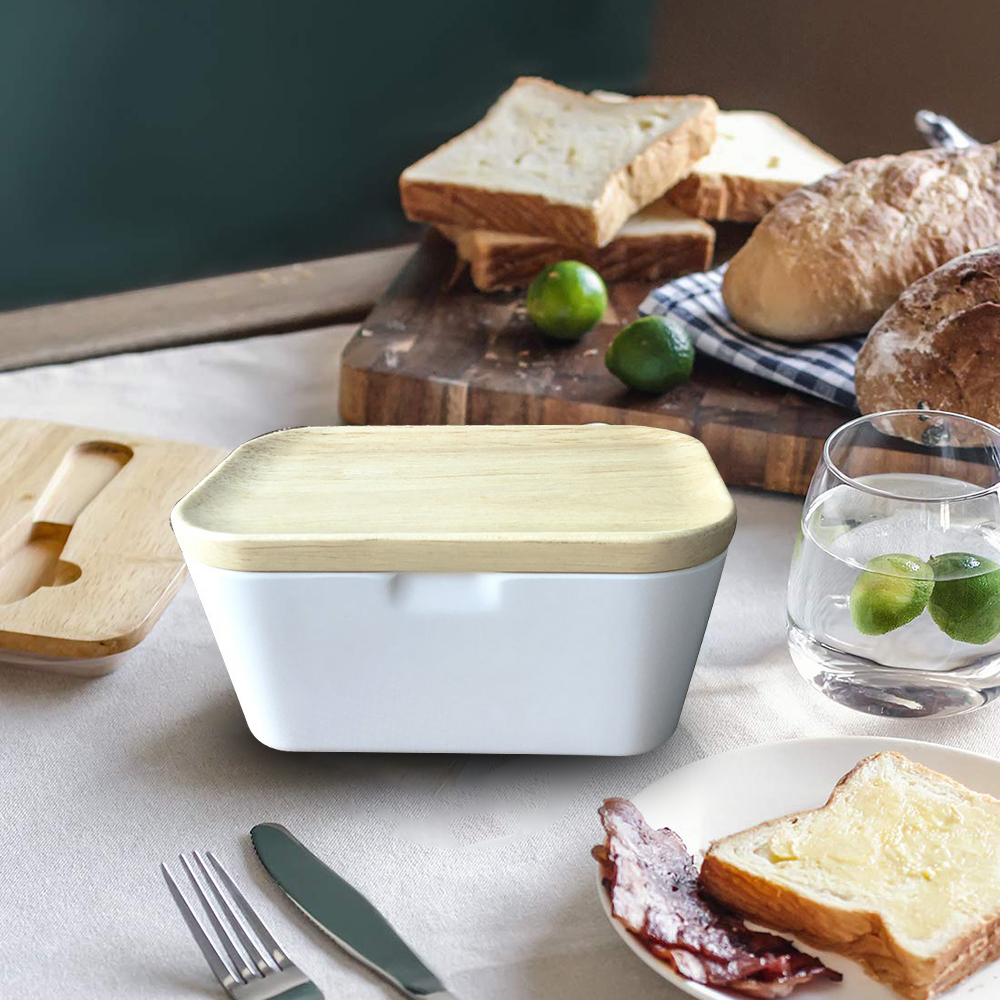 Wood Lid Holder Storage Container