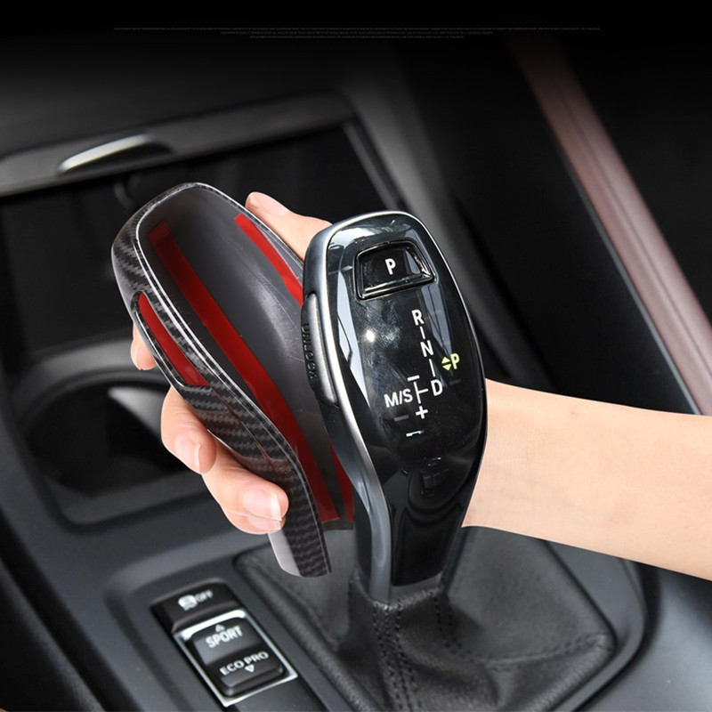 Carbon Fiber Printed Car Gear Shift Knob Sticker Cover Styling Moulding Trim For BMW X1 X2 2020