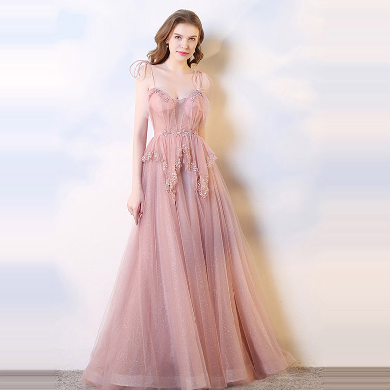 It's Yiiya Evening Dress 2019 Boat Neck Spaghetti Strap A-Line Dresess Elegant Embroidery Lace Up Train Party Formal Gowns E1036