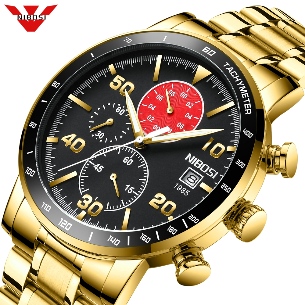 NIBOSI Luxury Gold Men Watch Sports Chronograph Waterproof Analog Mens Watches Quartz Watch Men Full Steel Wrist Watches Clock