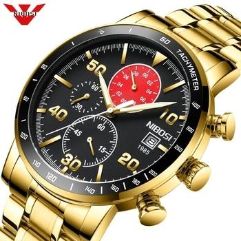 NIBOSI Luxury Gold Men Watch Sports Chronograph Waterproof Analog Mens Watches Quartz Watch Men Full Steel Wrist Watches Clock