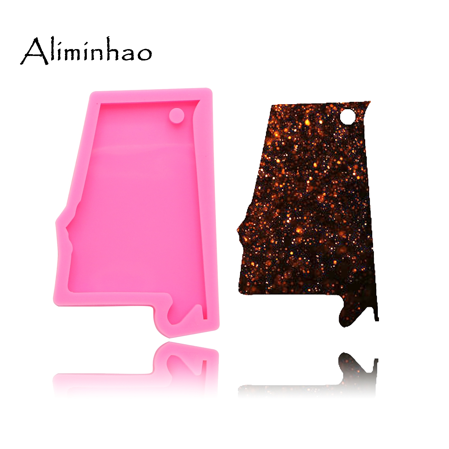 DY0200 Shiny Alabama State Keychains Mold Pendant Polymer Clay DIY Jewelry Making Glitter Epoxy Key Chain Silicone Resin Mold