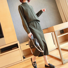 2019 Autumn Winter New Arrival Casual Korean Style 2 Piece Set Black Sweater and Midi Bodycon Skirt Ladies Knitted