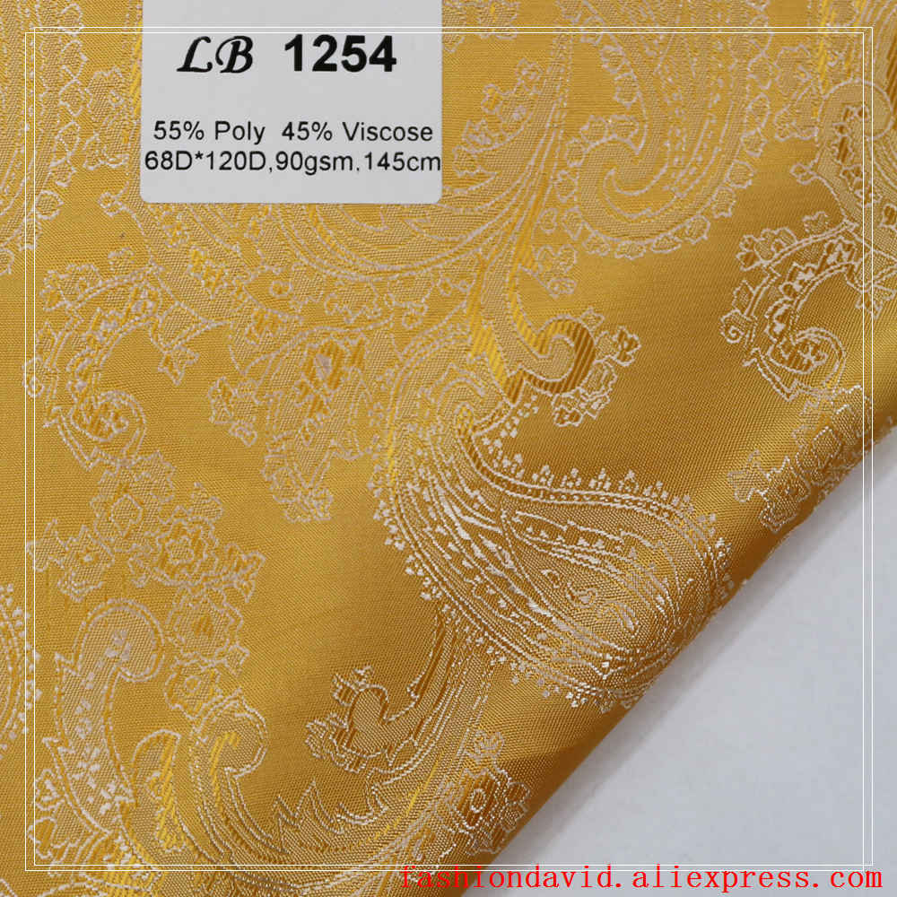 Taffeta Clothing Fabric Lining 100cm*150cm 55% Polyester 45 % Viscose Jacquared Golden Paisley Flower For Dress Suit Coat Box