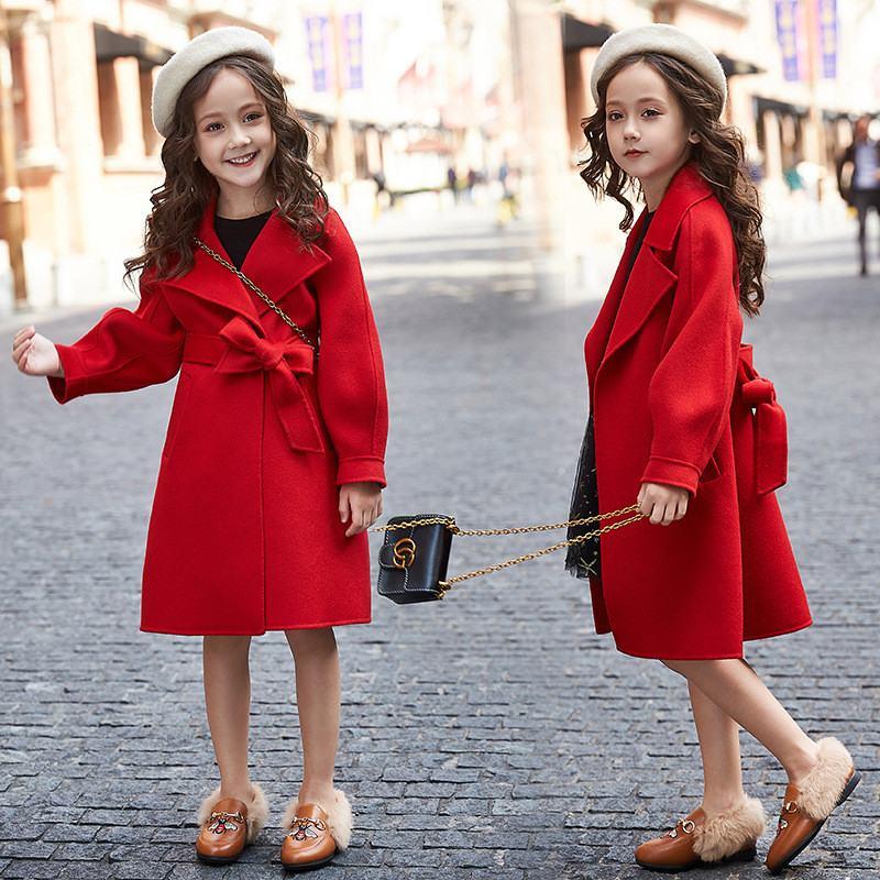2019 Autumn Winter New Kids Girls Woolen Coat Jack
