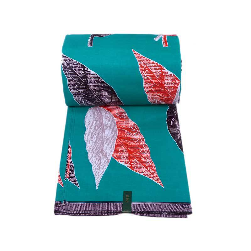2019 Newest Fashion Design 100% Cotton Green African White Black & Red Leaf Print Fabric