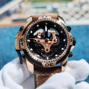 Reef Tiger/RT Military Watches for Men Genuine Brown Leather Strap Rose Gold Automatic Wrist Watch RGA3503 - discount item  30% OFF Men's Watches