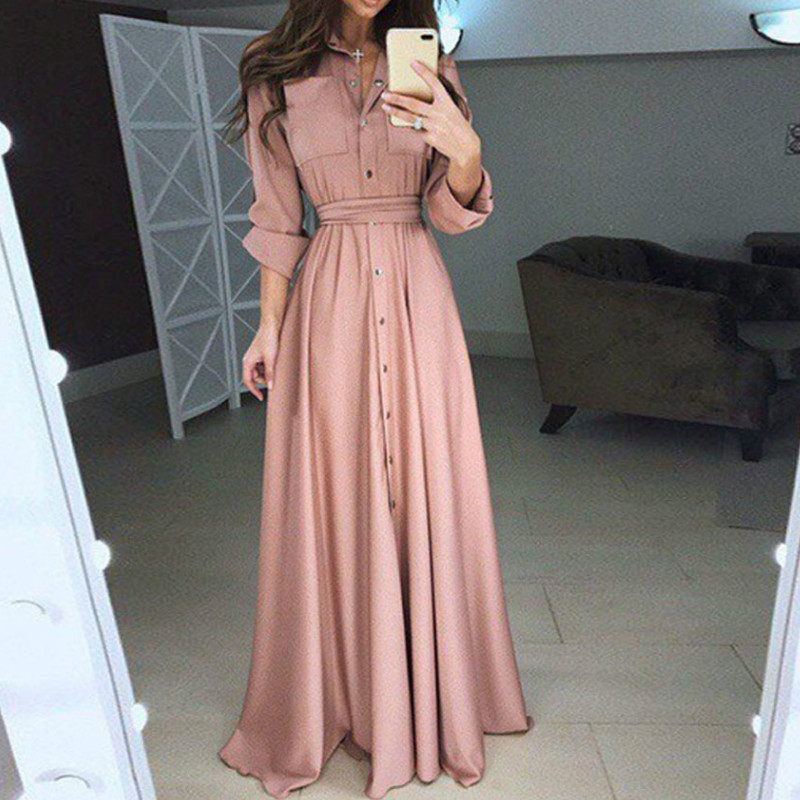 Women Summer Shirt Style Maxi Dress Long Sleeve Casual Loose High Street Dress Clothing Plus Size S-3XL