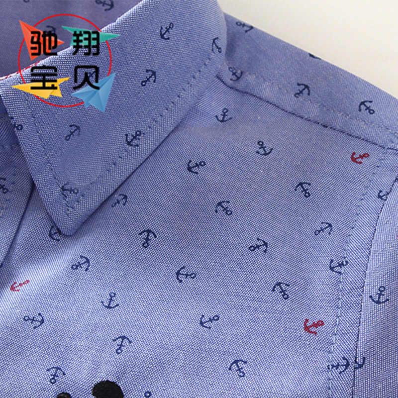 LOOZYKIT/Летняя хлопковая одежда для мальчиков детская Рубашка нарядная рубашка с якорем, Повседневная рубашка с короткими рукавами для детей