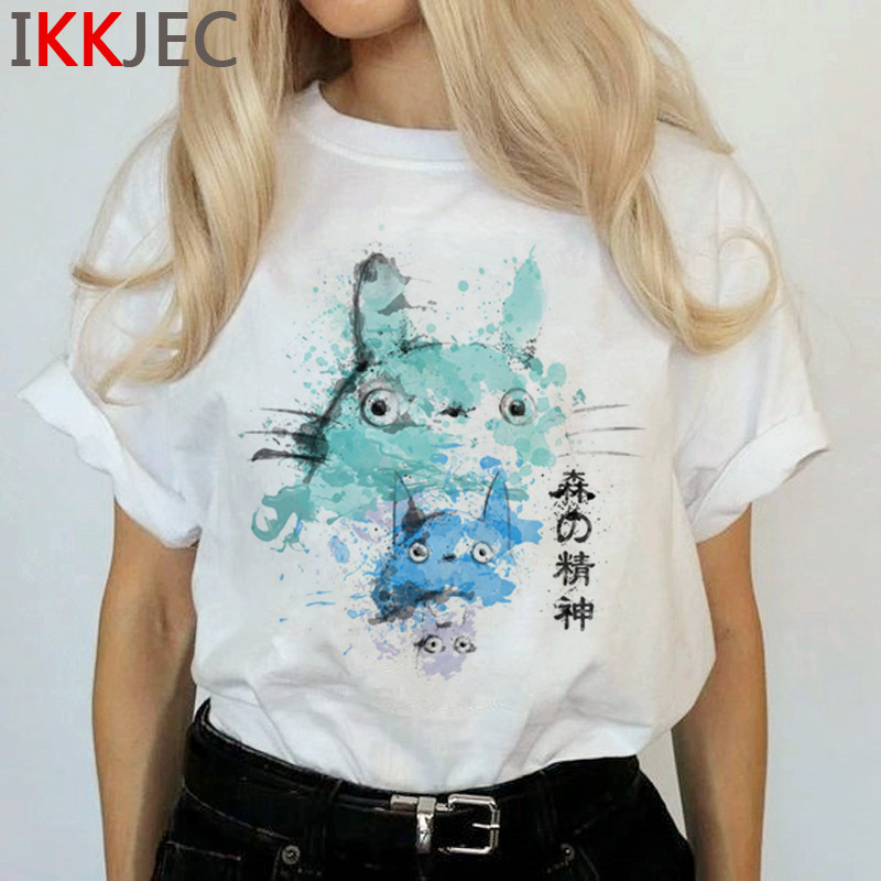 Totoro Harajuku Studio Ghibli T Shirt Women Miyazaki Hayao Ullzang Cute T-shirt Funny Cartoon Tshirt 90s Graphic Top Tees Female 15