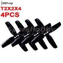 4 pces/2 pares brandnew hq hélice durável t2x2x4 4-lâmina 2 polegadas de diâmetro passo cw e ccw adereços para rc fpv drones