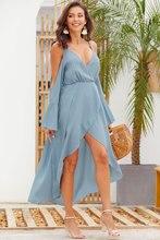 цена на Sexy Chiffon Boho Dress Off-shoulder Long Sleeve Sexy Dress With Split Summer Dress 2019
