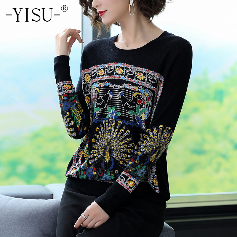 YISU Women New Vintage Warm Sweaters Chinese Style Pullovers Winter Autumn Peacock Printed Sweater Knitted Sweater Tops