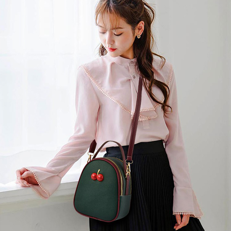 Fashion Female Shoulder Bagcandy Color Young Girl Messenger Bags Delicate Round Solid Small Separation Layer