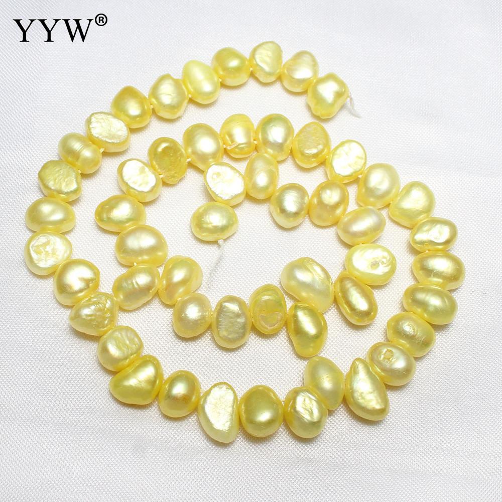 Pomme de Terre de culture de Perles D'eau Douce Jaune En Gros Perles Pour La Fabrication De Bijoux COLLIER À FAIRE SOI-MÊME Bracelet Bijoux Accessoires