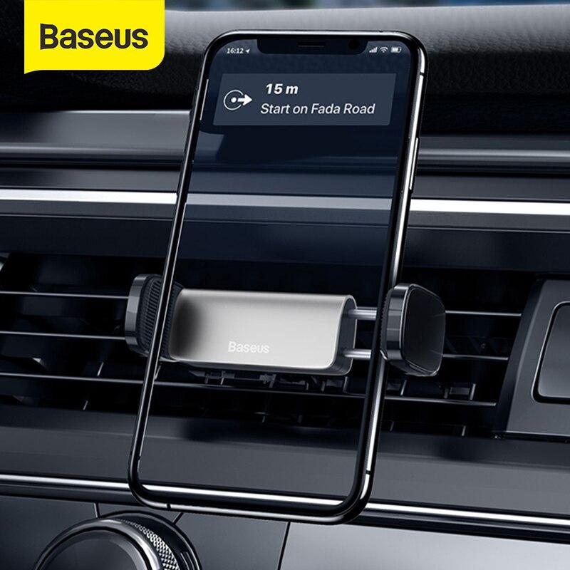 Soporte de teléfono para coche Baseus, salida de aire, soporte de montaje automático para Iphone Xiaomi de 4,7-6,5 pulgadas, soporte ajustable para teléfono móvil de coche