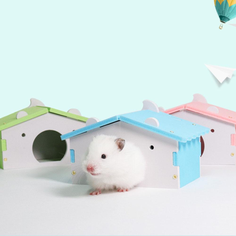 Lovely Small Pet Hamster Mice Squirrel Hamster House Wooden Sleeping House Nest Toy Cage Decor 14cm X 9cm X 8cm