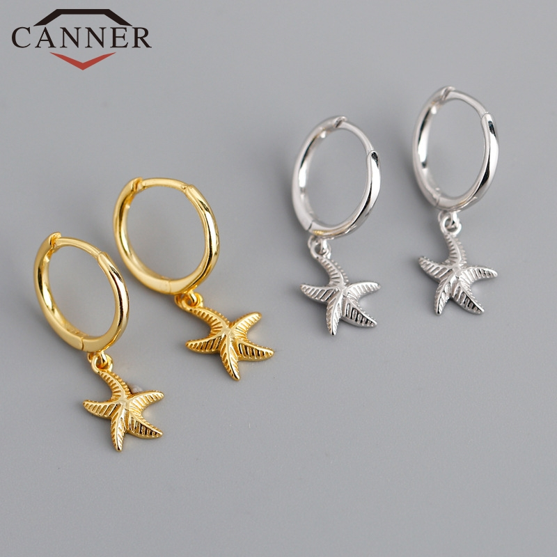 New Arrival Personality Starfish/Shell Sterling Silver Hoop Earrings For Women Gold Silver Color Earrings Silver 925