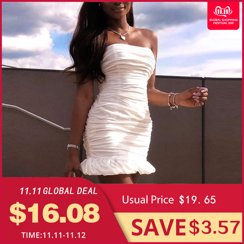 NewAsia Double Layers White Summer Dress 2019 Women Strapless Ruched Bodycon Elegant Club Sexy Party Tight Dresses