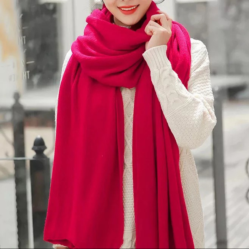 Simple Style Autumn Winter Female Wool Plaid Scarf Women Cashmere Scarves  Long Shawl Wrap Blanket Warm Dropshopping