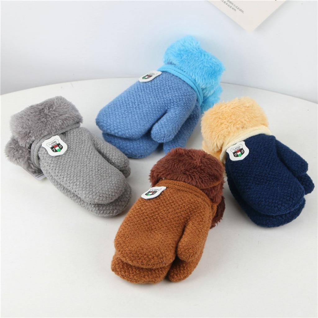 Warm Childrens Kids Lovely Winter Glove Knitted Gloves Rope Full Finger Mittens
