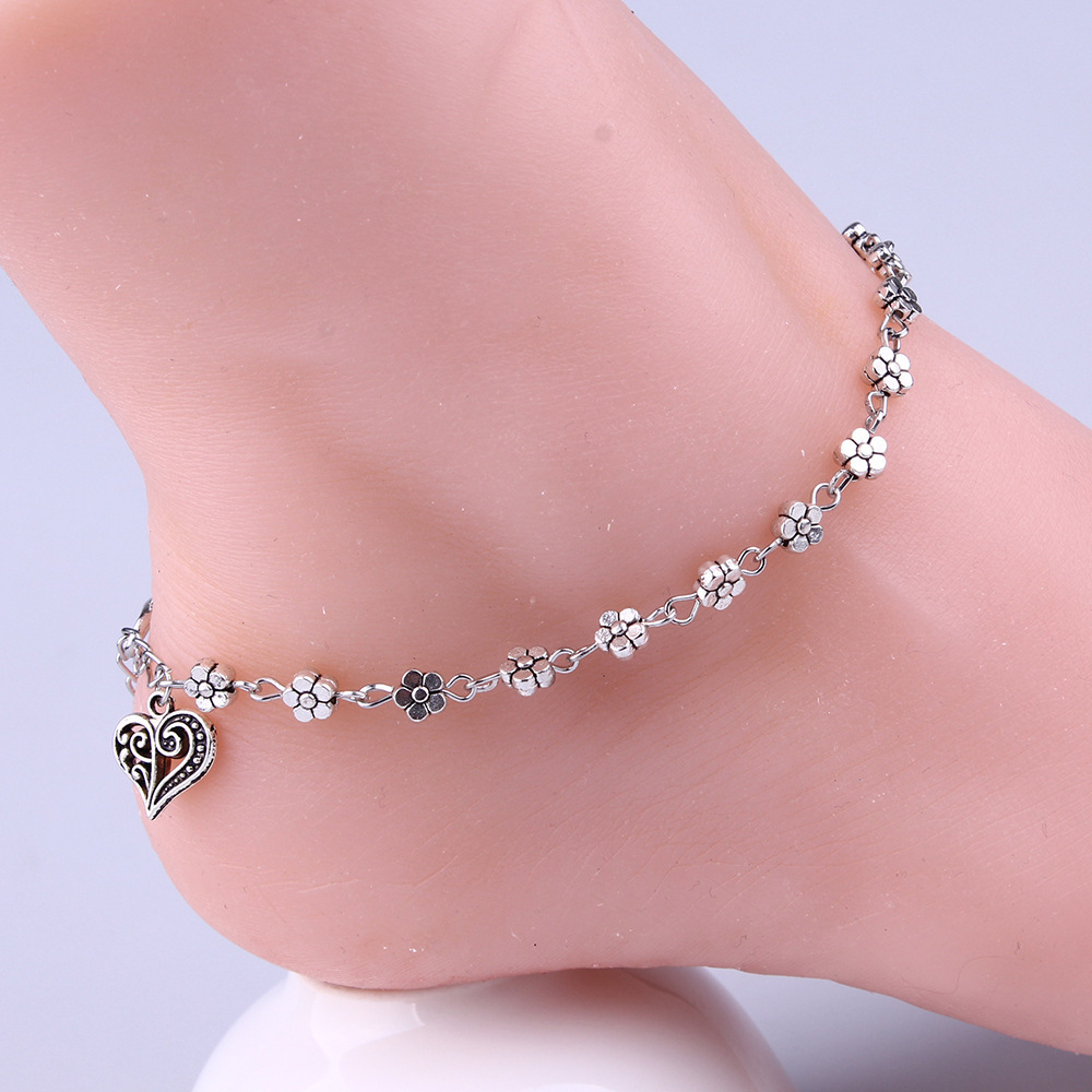 Fashion Flower Heart Pendant Anklet Female Anklets Barefoot Sandals Foot Chain 2019 New Ankle Bracelets for Women Beach Jewelry