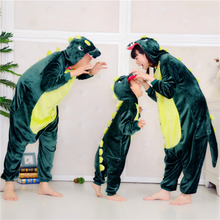 New parent-child outfit Flannel dinosaur animal pyjamas a family of three With hat Piece pajamas children's one-piece pajamas