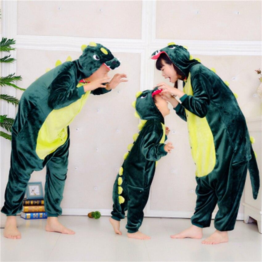 The New Cartoon Dinosaur Pajamas Parent-child Full Set Family Of Three Pajamas Coverall Climbing Suit Jumpsuit Plus Cashmere