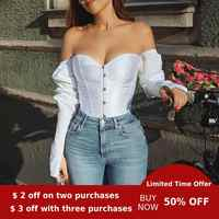 Evenworse off shoulder Sexy bubble sleeve top backless women's shirt leisure corset retro style women party night 2020 pluz size