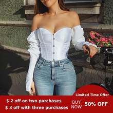 Evenworse off shoulder Sexy bubble sleeve top backless women's shirt leisure corset retro style women party night 2020 pluz size(China)