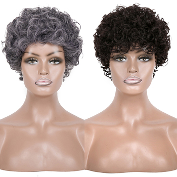 Synthetic afro short  black grey wig bouncy curly high temperature fiber wigs for women dream ice's