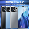 Newest Global Version M12 Pro 5G Cell Phone 16+512GB Andriod11 6800mAh Big Battery 32+50MP Qualcomm888 Face ID Smartphones